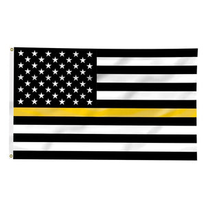 Thin Gold Line American Flag for Dispatchers 3 X 5 Feet - BackYourHero