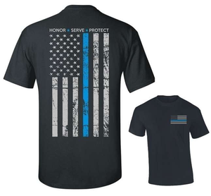 Thin Blue Line Men's Honor & Respect T Shirt - BackYourHero