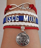 Leather Coast Guard Charm Bracelet - Mom or Wife Styles! - BackYourHero