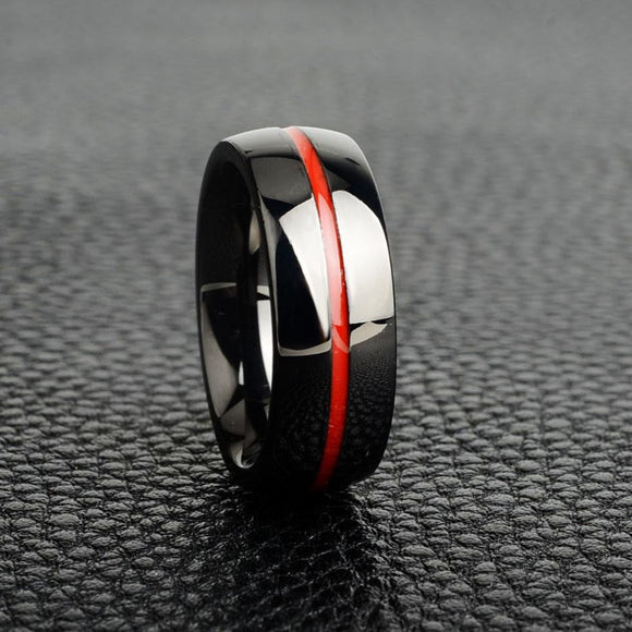 Elegant Thin Red Line Ring - Pure Titanium! - BackYourHero