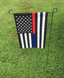 Thin Red & Blue Line Garden Flag 12.5 X 18 Inches - BackYourHero