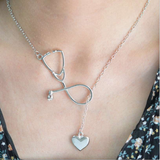 Stunning Nurse Necklace - Stethoscope & Heart Loop - Gold or Silver - BackYourHero