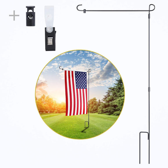 yizen Garden Flag Stand, Yard Holder Black Wrought Iron Pole... - BackYourHero