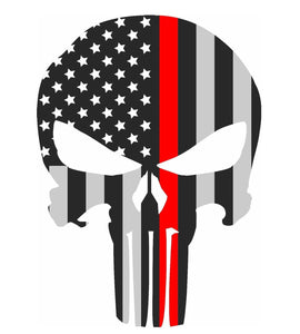 "Punisher Thin Red Line Sticker 2.5"" X 4.5"" Car & Laptop Decal - BackYourHero"