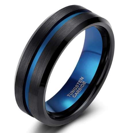 Women's Thin Blue Line Ring - Pure Tungsten Carbide! - BackYourHero