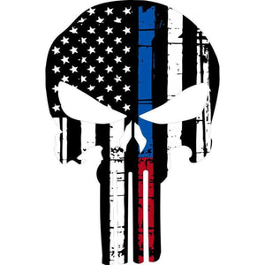 "Punisher Thin Blue & Red Line Sticker 2.5"" X 4.5"" Car Decal - BackYourHero"
