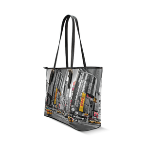 Time Square Leather Tote Bag