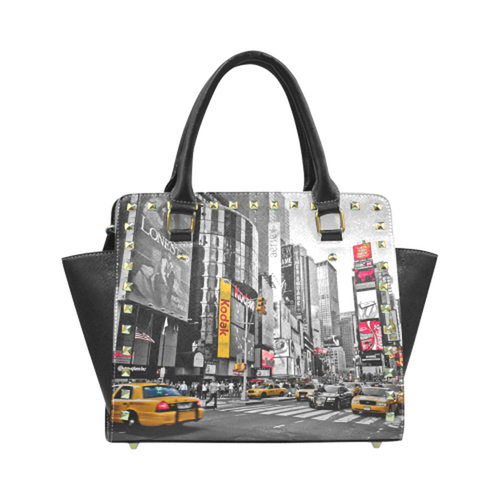 Times Square Old Map Rivet Shoulder Purse