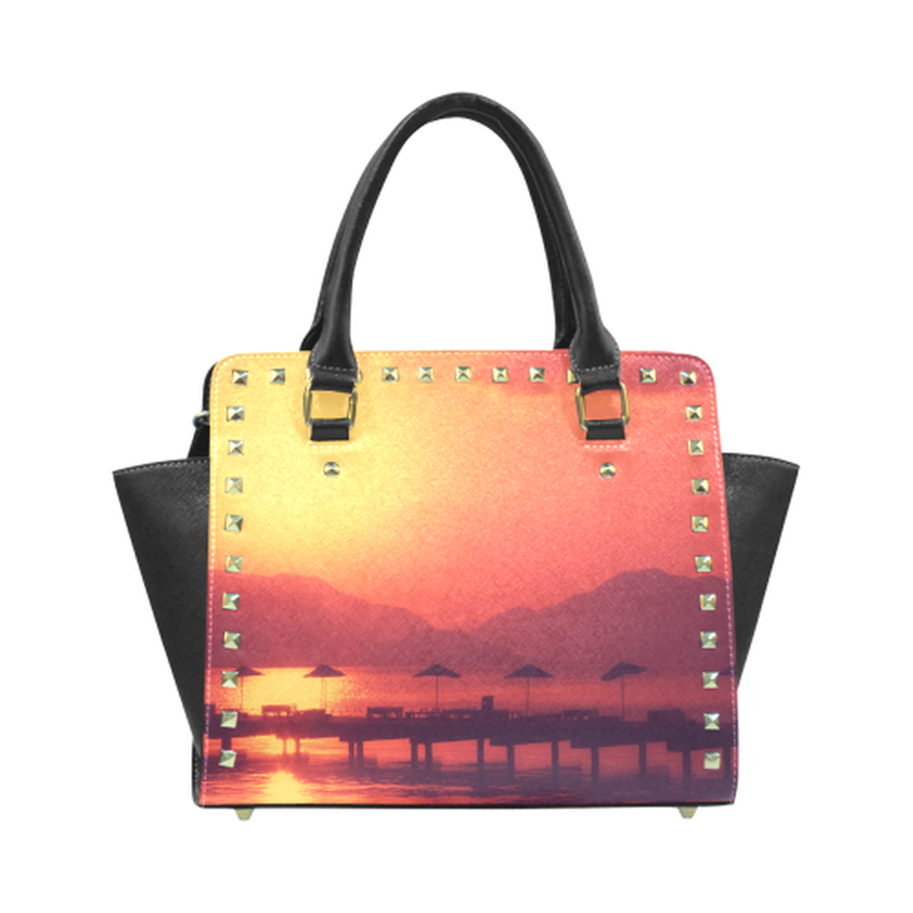 Sunset Vacation Rivet Shoulder Purse