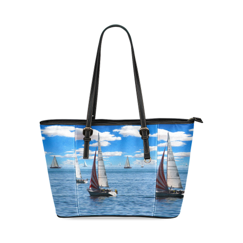 Sail Boat Leather Tote Bag