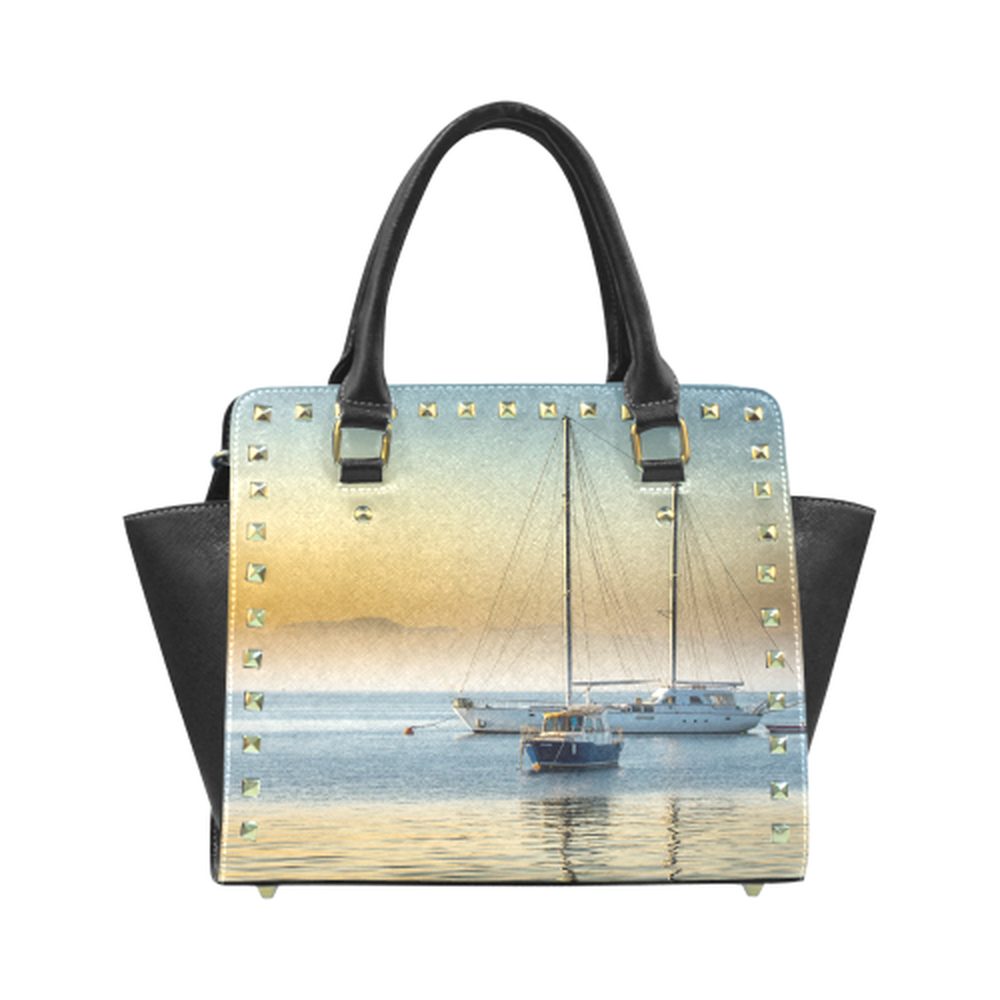 Calm Boats Rivet Shoulder Purse