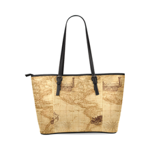 Old Map Leather Tote Bag