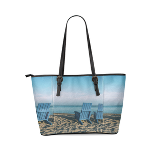 Blue Chair Leather Tote Bag