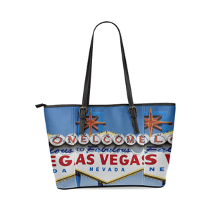 Las Vegas Sign Leather Tote Bag