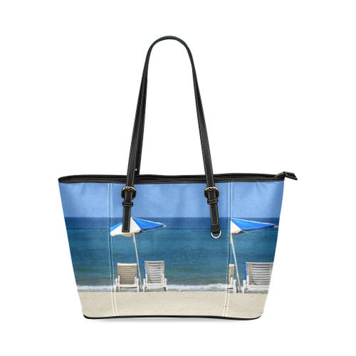 Beach Chairs Leather Tote Bag