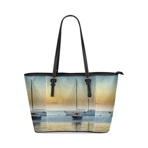 Calm Boats Leather Tote Bag