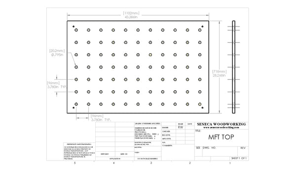 Replacement Mft Top Cad Drawings Seneca Woodworking