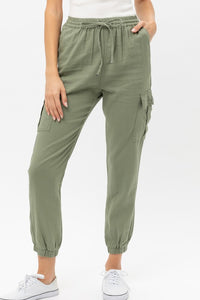 Lightweight Linen Utility Joggers in Light Olive