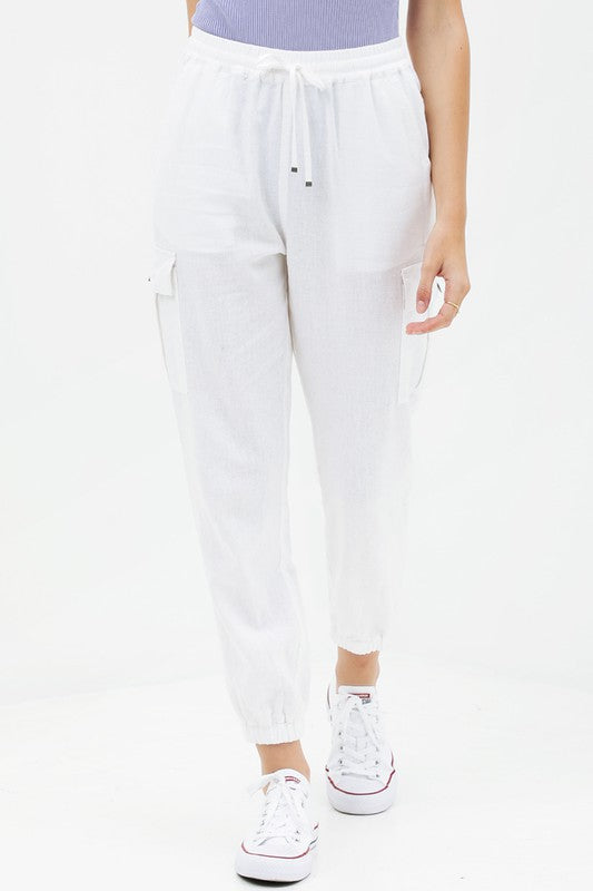 Lightweight Linen Utility Joggers in White
