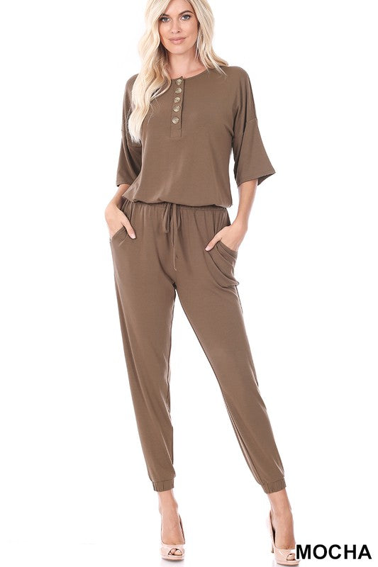 Half Sleeve Button Down Jogger Jumpsuit in Mocha