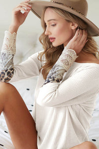 Waffle Knit and Crochet Lace Cuff Band in Ivory