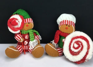 "10-12"" Fabric Peppermint Gingerbread Man"