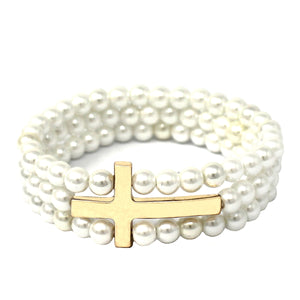 Pearl and Gold Three Row Cross Stretch Bracelet