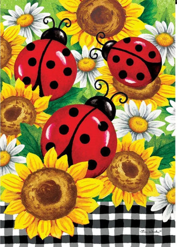 Sunflower Ladybugs Large Flag
