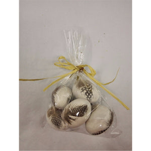 "2"" Natural Feather Egg Bag of 6 in Gray"