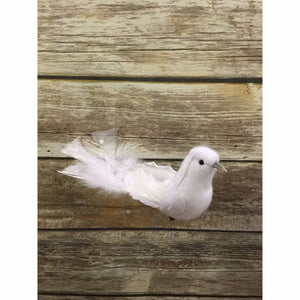 "9.25"" White Pearl Tailed Dove (Set of 4)"