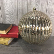 "Load image into Gallery viewer, 10"" Vertical Stripe Mercury Ball Ornament in Bronze or Platinum"