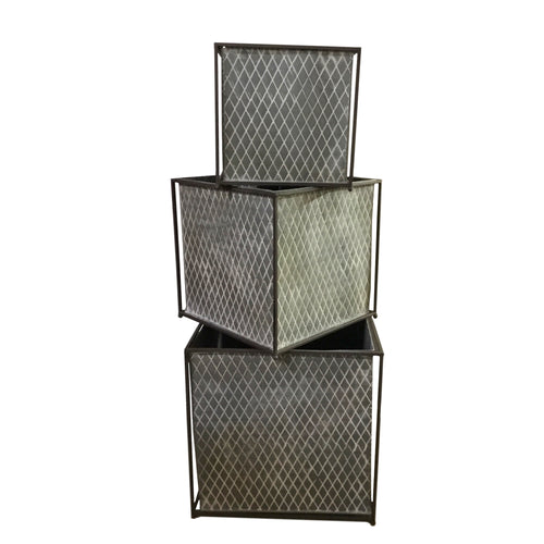 Square Quilted Galvanized Metal Planter, 3 sizes