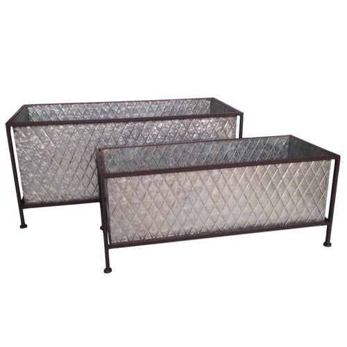 Rectangle Galvanized Metal Planters, 2 sizes