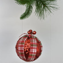 "Load image into Gallery viewer, 5"" Peppermint Plaid Sequin Ball Ornament 2 Asst"