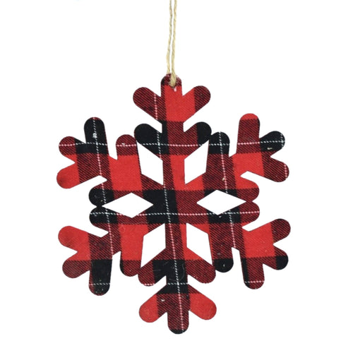Plaid Snowflake Silhouette Ornament in Red Black