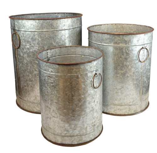 Galvanized Metal Buckets (Set of 3)