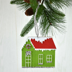 "6"" x 5.5"" Retro Felt/Tinsel House in Green/Red or Red/Aqua"
