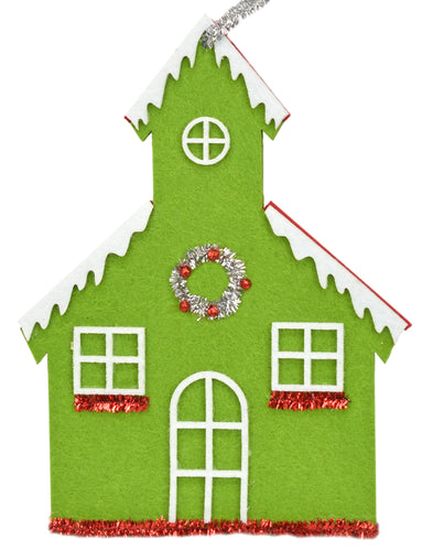 Retro Felt/Tinsel Church in Green or Gray