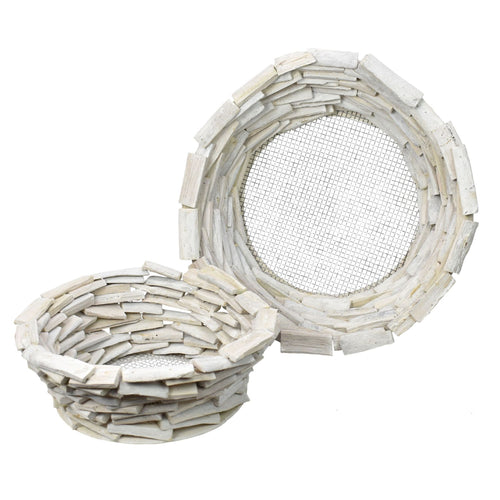Stacked Driftwood Round Planter in White Washed Finish, 2 sizes