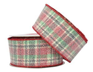 "Multi Colors Plaid with Candy Glitter Ribbon (2.5"" x 10yd)"
