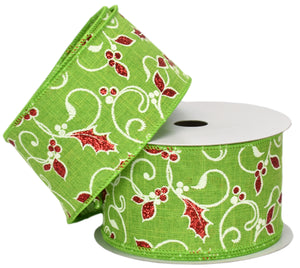 "Lime with Red Glitter Holly Berry Pattern (2.5"" x 10yd)"
