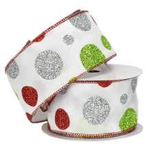 "Load image into Gallery viewer, White with Silver, Red, & Green Glitter Polka Dot Ribbon with Red Edge (2.5"" x 10yd)"