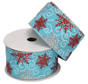 "Retro Blue with Red & Silver Glitter Snowflakes Silver Edge (2.5"" x 10yd)"