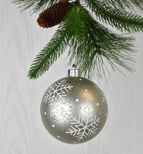 "4.75"" Snowflake Dot Ball Ornament with Mercury Finish in Silver"