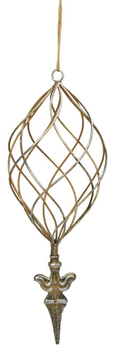 Metal Cage Ornament in Rustic Silver (5.75