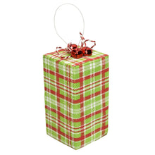 "Load image into Gallery viewer, 4"" x 8.5"" Package Ornament in Green/Red"