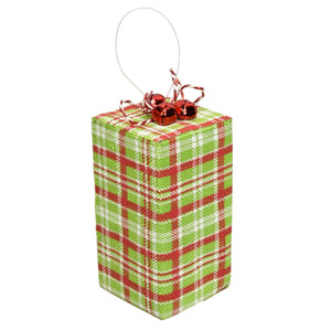"4"" x 8.5"" Package Ornament in Green/Red"
