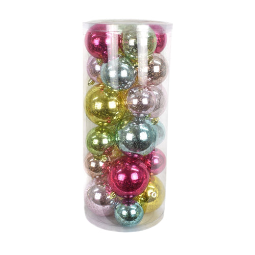 Shiny Mixed Ball Ornament Box of 24 in Multi