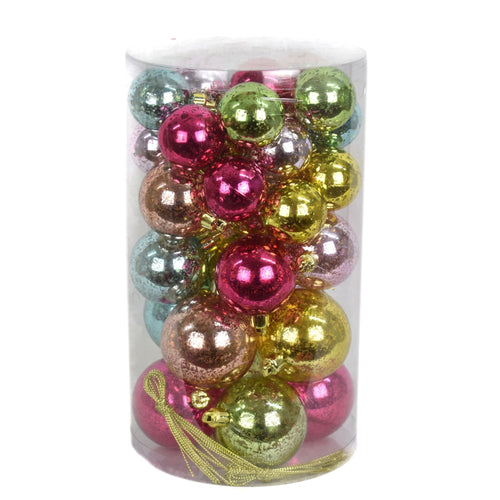 Shiny Mixed Ball Ornament Box of 36 in Multi