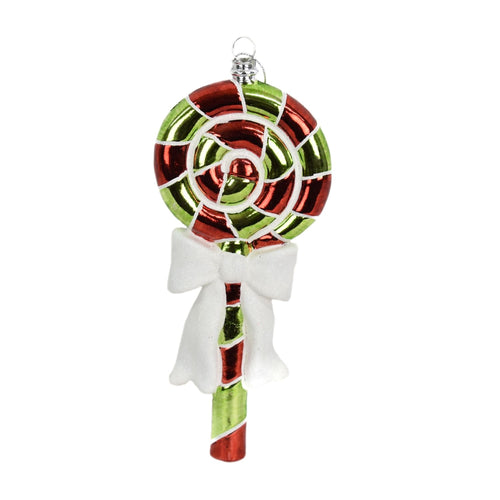 Whirley Pop with Bow Ornament in Red/Green/White